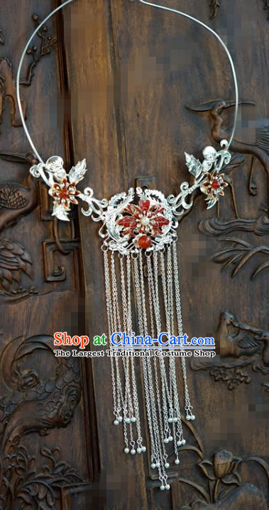 Chinese Handmade Cloisonne Necklace Traditional Jewelry Accessories Ancient Wedding Bride Argent Tassel Necklet
