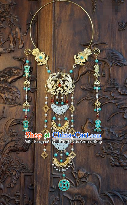 Chinese Handmade Jade Tassel Necklace Traditional Jewelry Accessories Ancient Wedding Bride Golden Phoenix Necklet