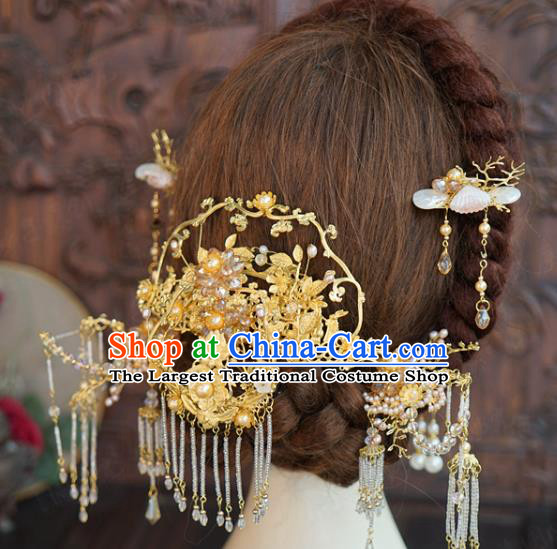 China Ancient Bride Wedding Golden Hair Accessories Traditional Xiuhe Suit Hairpins Hair Sticks Complete Set