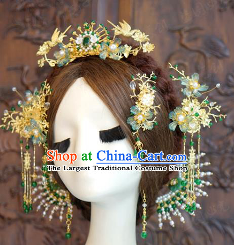 China Ancient Empress Hair Accessories Traditional Wedding Xiuhe Suit Tassel Hairpins Jade Hair Crown Complete Set
