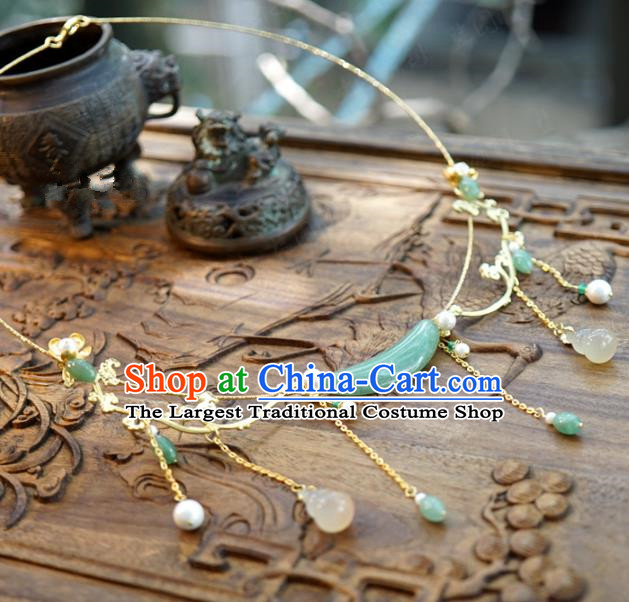 Chinese Traditional White Chalcedony Gourd Tassel Necklace Handmade Ancient Princess Jade Necklet Accessories