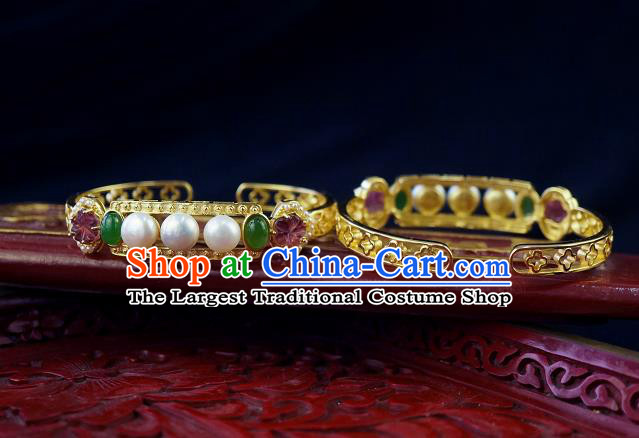 Chinese Traditional Gems Bangle Accessories Ancient Qing Dynasty Court Pearls Jade Bracelet Jewelry