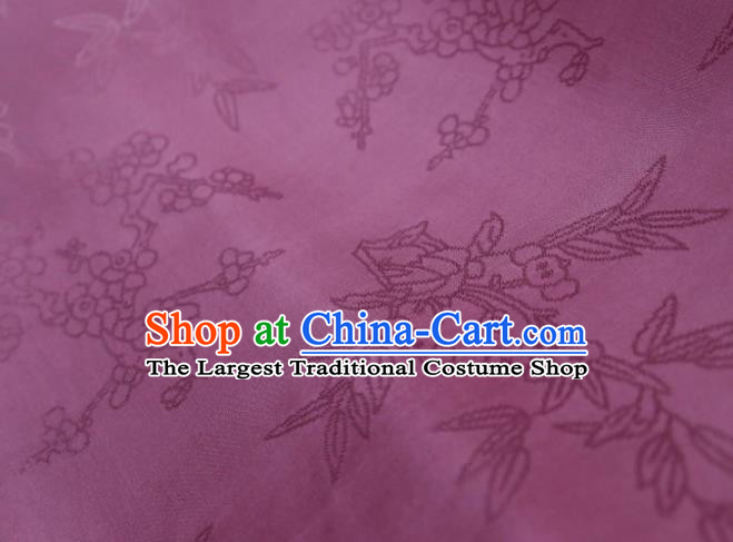 Chinese Classical Plum Pattern Design Purple Mulberry Silk Fabric Asian Traditional Cheongsam Silk Material