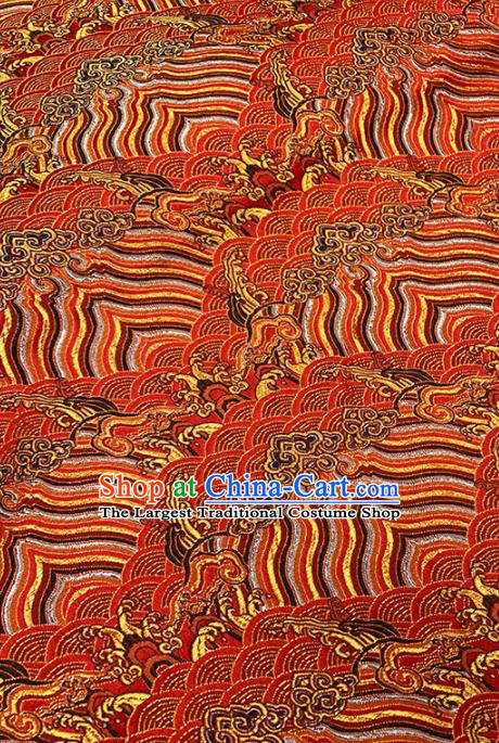 Chinese Classical Sea Wave Pattern Design Red Brocade Fabric Asian Traditional Satin Tang Suit Silk Material