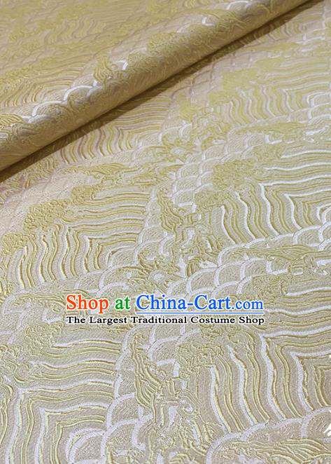 Chinese Classical Sea Wave Pattern Design White Brocade Fabric Asian Traditional Satin Tang Suit Silk Material