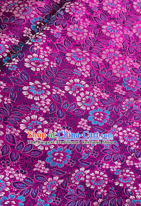 Chinese Classical Flowers Pattern Design Rosy Brocade Fabric Asian Traditional Satin Tang Suit Silk Material