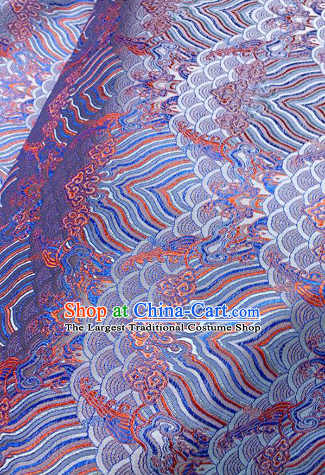 Chinese Classical Sea Wave Pattern Design Blue Brocade Fabric Asian Traditional Satin Tang Suit Silk Material