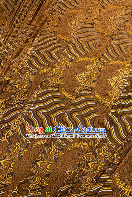 Chinese Classical Sea Wave Pattern Design Brown Brocade Fabric Asian Traditional Satin Tang Suit Silk Material