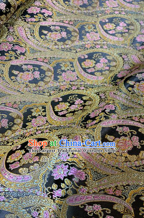Chinese Classical Plum Pattern Design Black Brocade Fabric Asian Traditional Satin Tang Suit Silk Material