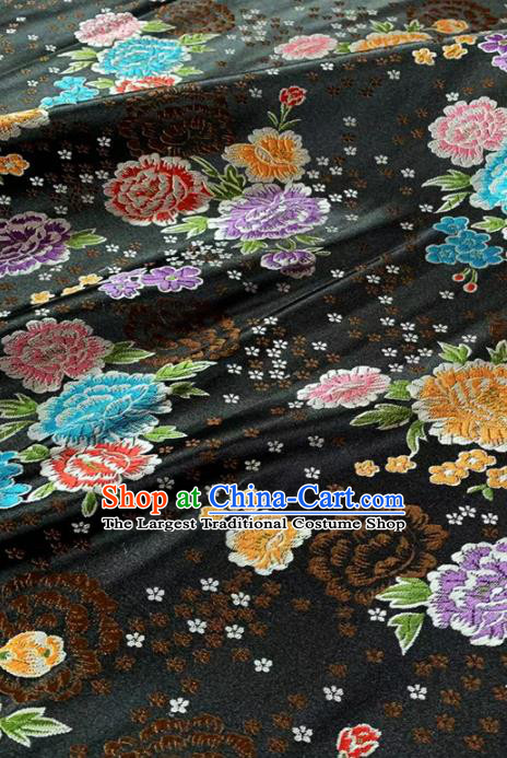 Chinese Classical Peony Plum Pattern Design Black Brocade Fabric Asian Traditional Satin Tang Suit Silk Material