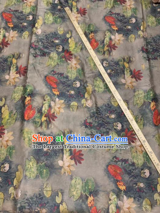 Chinese Classical Lotus Pattern Design Grey Gambiered Guangdong Gauze Fabric Asian Traditional Cheongsam Silk Material