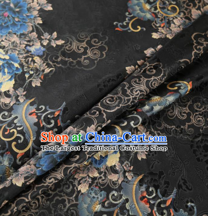 Chinese Classical Peony Pattern Design Black Mulberry Silk Fabric Asian Traditional Cheongsam Silk Material