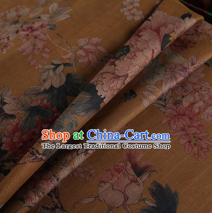 Chinese Classical Peony Pattern Design Ginger Mulberry Silk Fabric Asian Traditional Cheongsam Silk Material