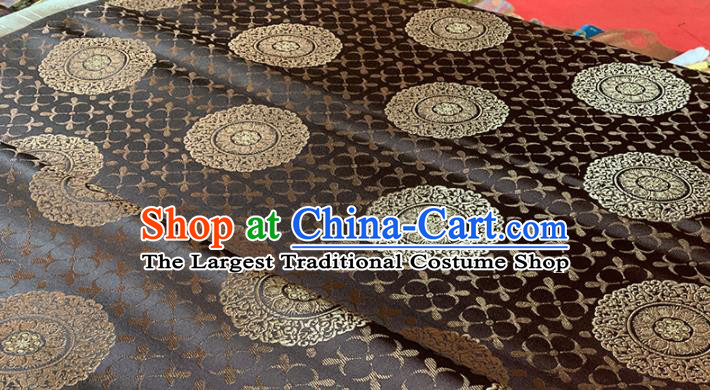Chinese Classical Round Flowers Pattern Design Brown Brocade Fabric Asian Traditional Satin Tang Suit Silk Material
