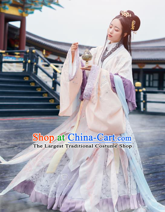 Chinese Ancient Goddess Embroidered Hanfu Dress Traditional Jin Dynasty Imperial Concubine Costumes for Women