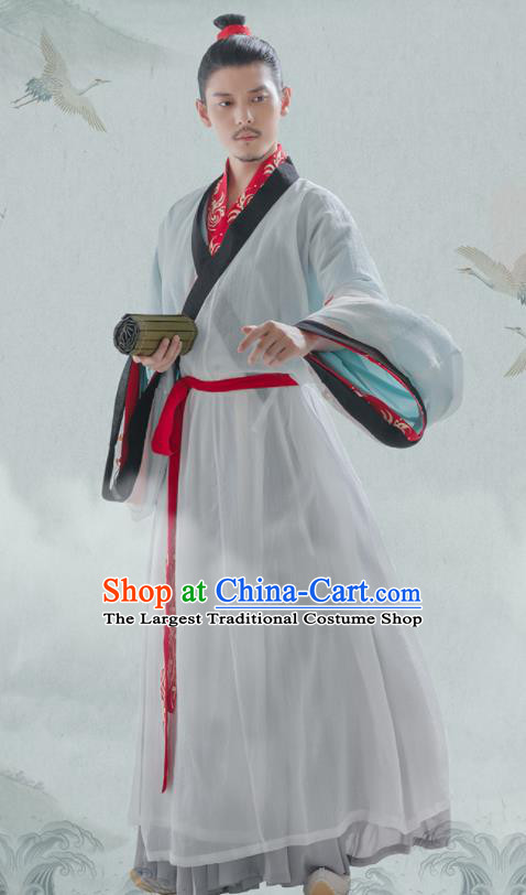 Chinese Ancient Scholar Hanfu Clothing Traditional Jin Dynasty Nobility Childe Costumes for Men