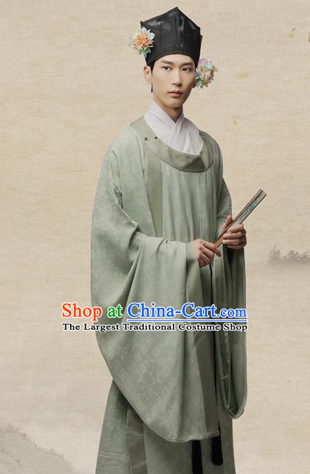 Chinese Ancient Poet Scholar Lu You Hanfu Clothing Traditional Song Dynasty Nobility Childe Costumes for Men