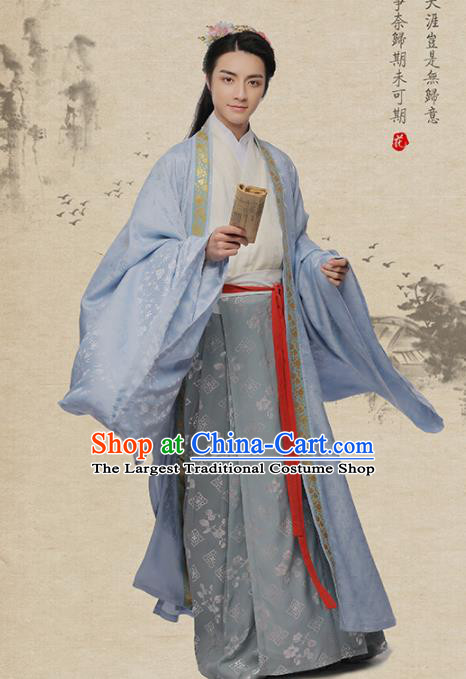 Chinese Ancient Poet Yan Jidao Hanfu Clothing Traditional Song Dynasty Scholar Nobility Childe Costumes for Men