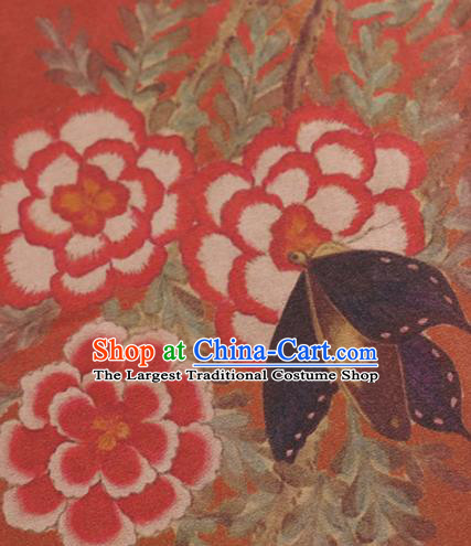 Chinese Classical Peony Butterfly Pattern Design Orange Mulberry Silk Fabric Asian Traditional Cheongsam Silk Material