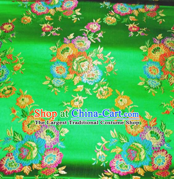 Chinese Classical Royal Flowers Pattern Design Green Brocade Fabric Asian Traditional Satin Tang Suit Silk Material