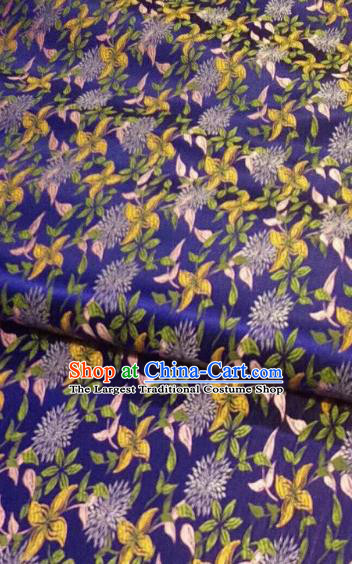 Chinese Classical Royal Flowers Pattern Design Royalblue Brocade Fabric Asian Traditional Satin Tang Suit Silk Material