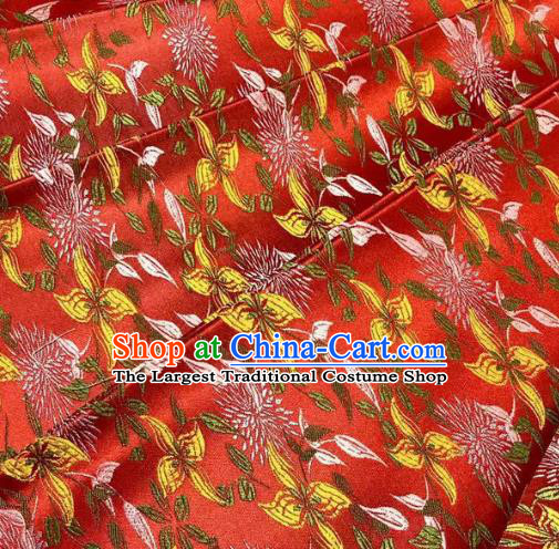 Chinese Classical Royal Flowers Pattern Design Red Brocade Fabric Asian Traditional Satin Tang Suit Silk Material