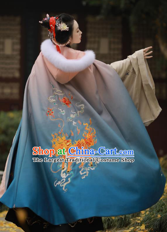Chinese Ancient Princess Embroidered Kylin Blue Cloak Traditional Ming Dynasty Court Lady Costume for Women