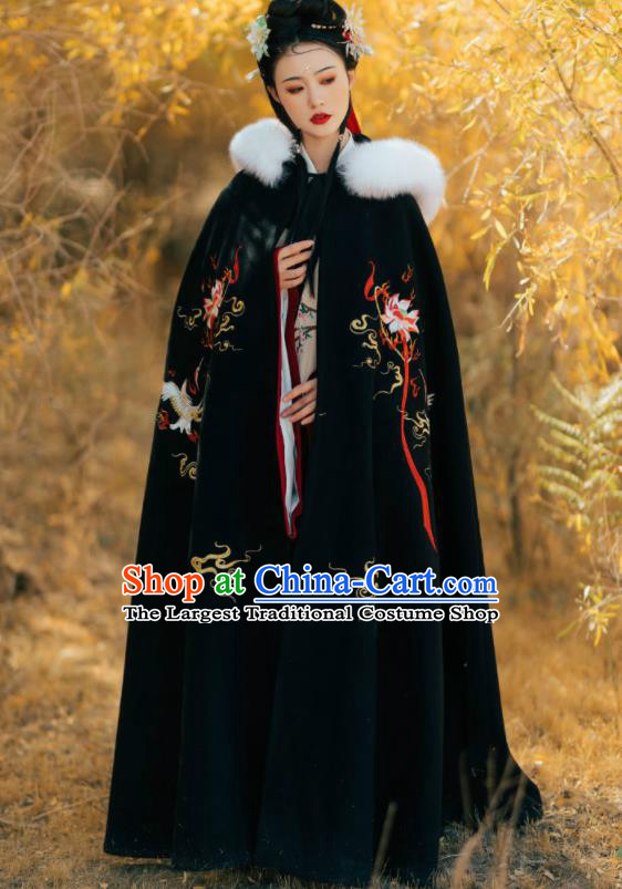 Chinese Ancient Princess Embroidered Lotus Black Cloak Traditional Ming Dynasty Court Lady Costume for Women