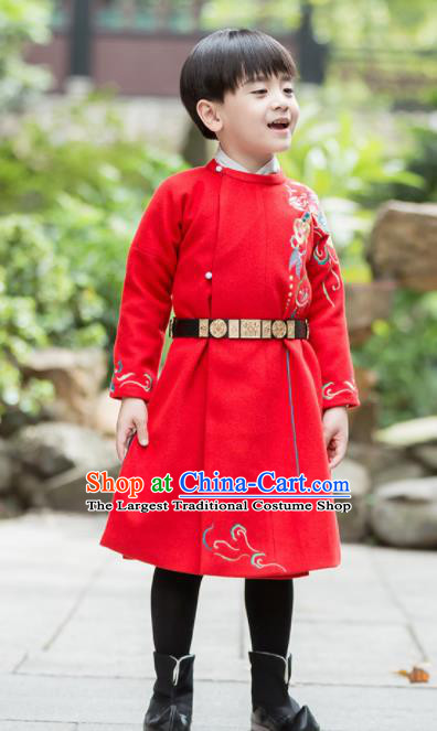 Chinese Traditional Ming Dynasty Imperial Bodyguard Costume Ancient Swordsman Red Hanfu Clothing for Kids