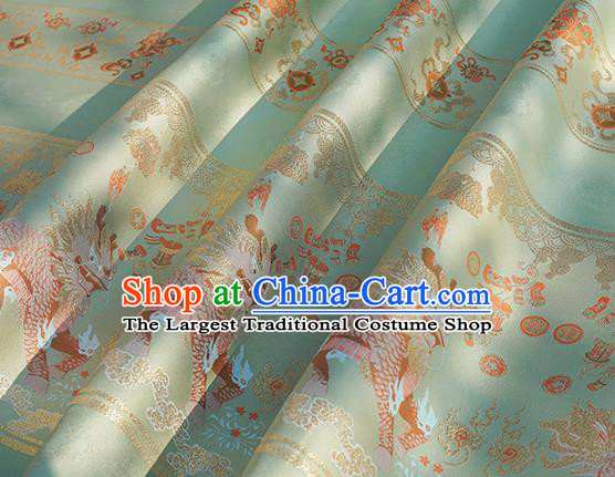 Chinese Royal Kylin Pattern Design Light Green Brocade Fabric Asian Traditional Horse Face Skirt Satin Silk Material