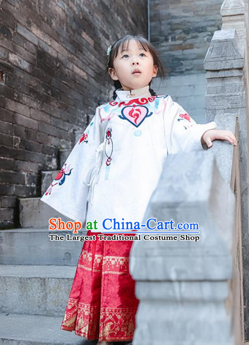 Chinese Traditional Girls Embroidered White Blouse and Skirt Ancient Ming Dynasty Princess Costume for Kids