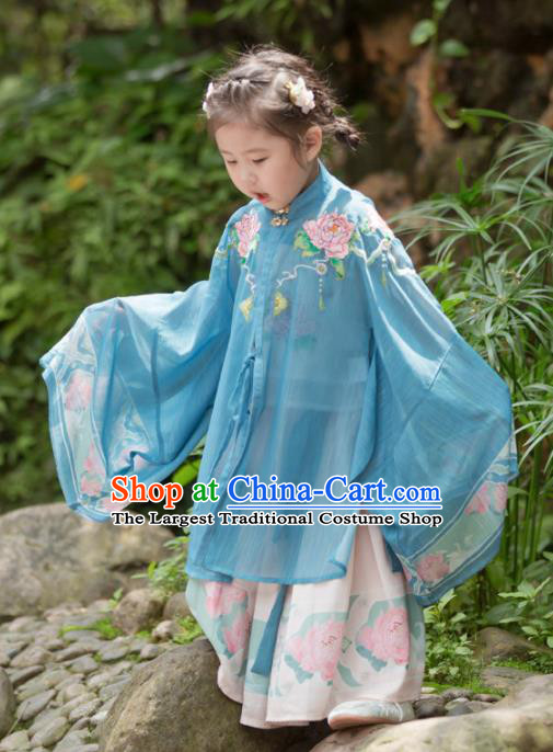 Chinese Traditional Girls Embroidered Peony Blue Cloak and Skirt Ancient Ming Dynasty Princess Costume for Kids