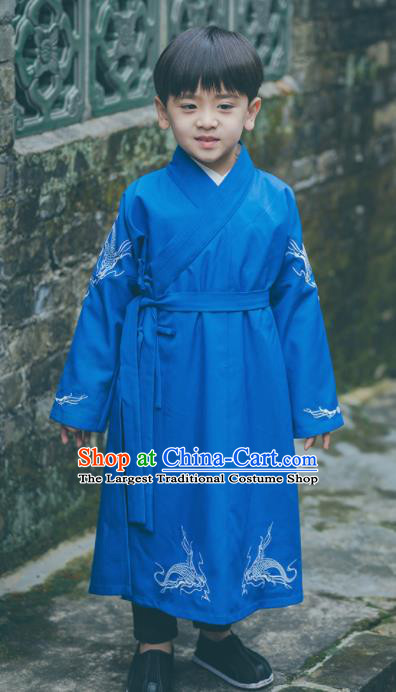 Chinese Traditional Ming Dynasty Swordsman Blue Costume Ancient Imperial Bodyguard Hanfu Clothing for Kids