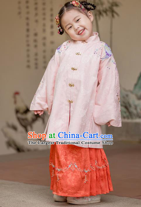 Chinese Traditional Girls Embroidered Pink Blouse and Red Skirt Ancient Ming Dynasty Princess Costume for Kids
