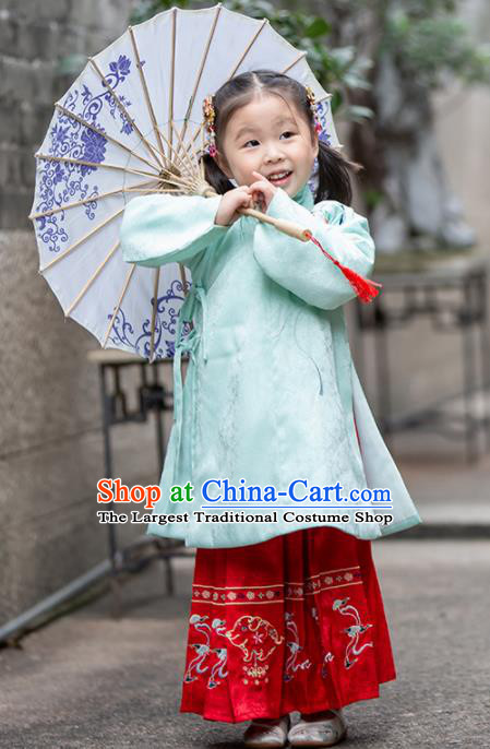 Chinese Traditional Girls Embroidered Green Blouse and Red Skirt Ancient Ming Dynasty Princess Costume for Kids