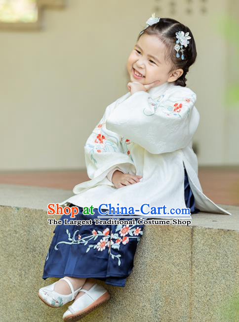 Chinese Traditional Girls Embroidered White Blouse and Navy Skirt Ancient Ming Dynasty Princess Costume for Kids