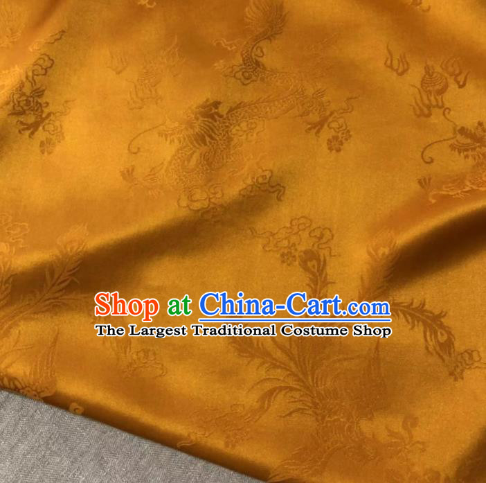 Chinese Classical Dragon Phoenix Pattern Design Golden Silk Fabric Asian Traditional Cheongsam Brocade Material