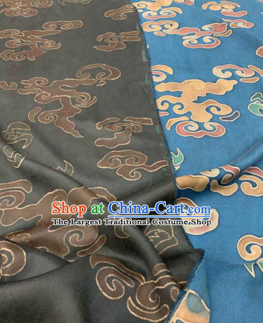 Asian Chinese Traditional Auspicious Clouds Pattern Design Blue Gambiered Guangdong Gauze Fabric Silk Material