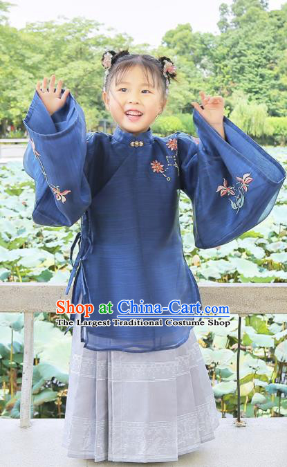 Chinese Traditional Girls Embroidered Navy Blouse and Skirt Ancient Ming Dynasty Princess Costume for Kids