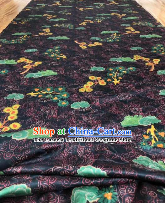 Asian Chinese Traditional Cloud Plum Pattern Design Navy Gambiered Guangdong Gauze Fabric Silk Material
