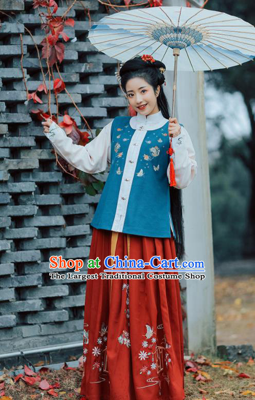 Chinese Ancient Rich Lady Hanfu Dress Traditional Ming Dynasty Nobility Embroidered Costumes for Women