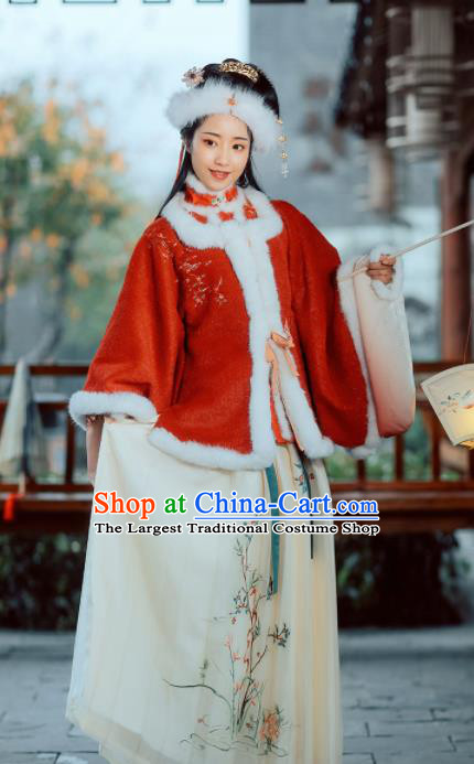 Chinese Ancient Rich Young Mistress Hanfu Dress Traditional Ming Dynasty Nobility Countess Embroidered Costumes for Women
