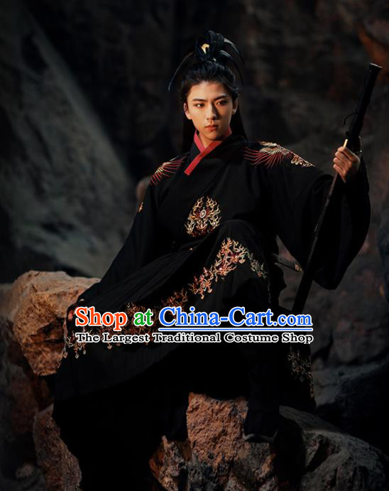 Chinese Ancient Swordsman Black Hanfu Clothing Traditional Ming Dynasty Imperial Guards Embroidered Costumes for Men