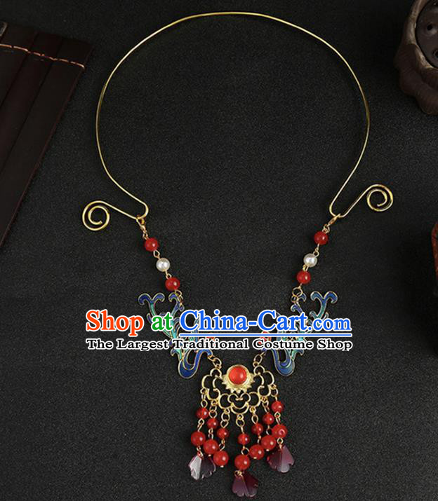 Chinese Classical Wedding Phoenix Necklace Accessories Ancient Bride Tassel Necklet for Women
