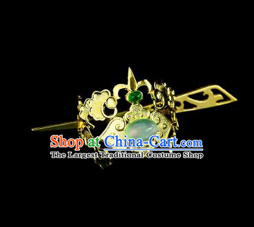 Chinese Drama Royal Prince Green Glass Hair Crown and Hairpin Ancient Swordsman Hair Accessories for Men