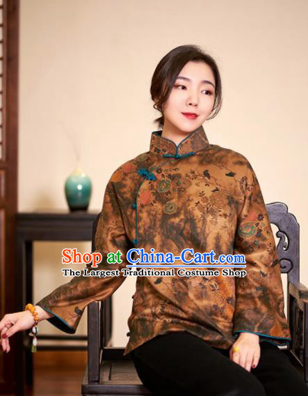 Top Grade Traditional Chinese Embroidered Ginger Blouse Tang Suit Silk Upper Outer Garment for Women