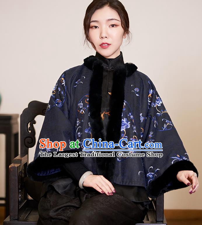 Top Grade Traditional Chinese Embroidered Black Cotton Wadded Jacket Silk Qipao Upper Outer Garment for Women