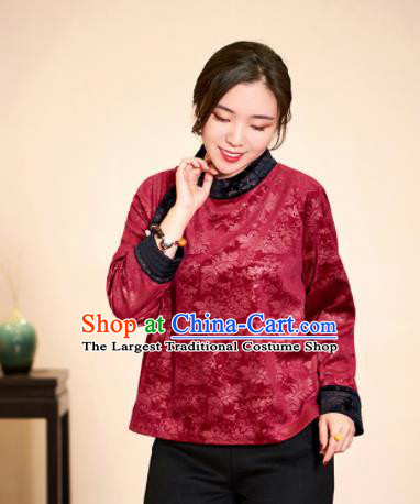 Top Grade Traditional Chinese Embroidered Wine Red Blouse Tang Suit Silk Upper Outer Garment for Women