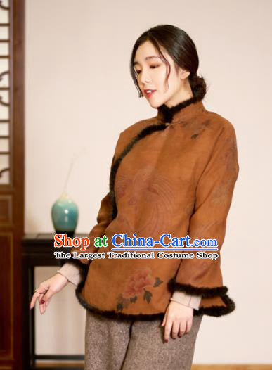Top Grade Traditional Chinese Ginger Cotton Wadded Jacket Tang Suit Silk Upper Outer Garment for Women