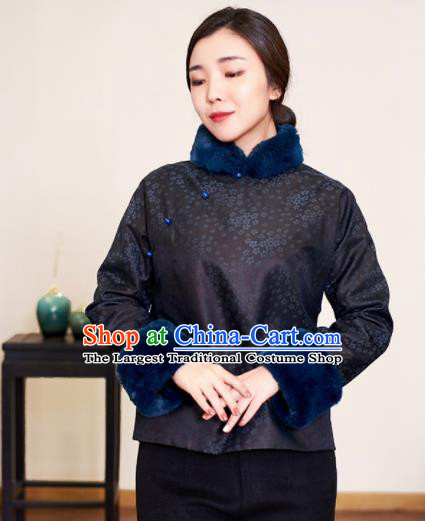 Top Grade Traditional Chinese Printing Black Wadded Jacket Tang Suit Silk Upper Outer Garment for Women